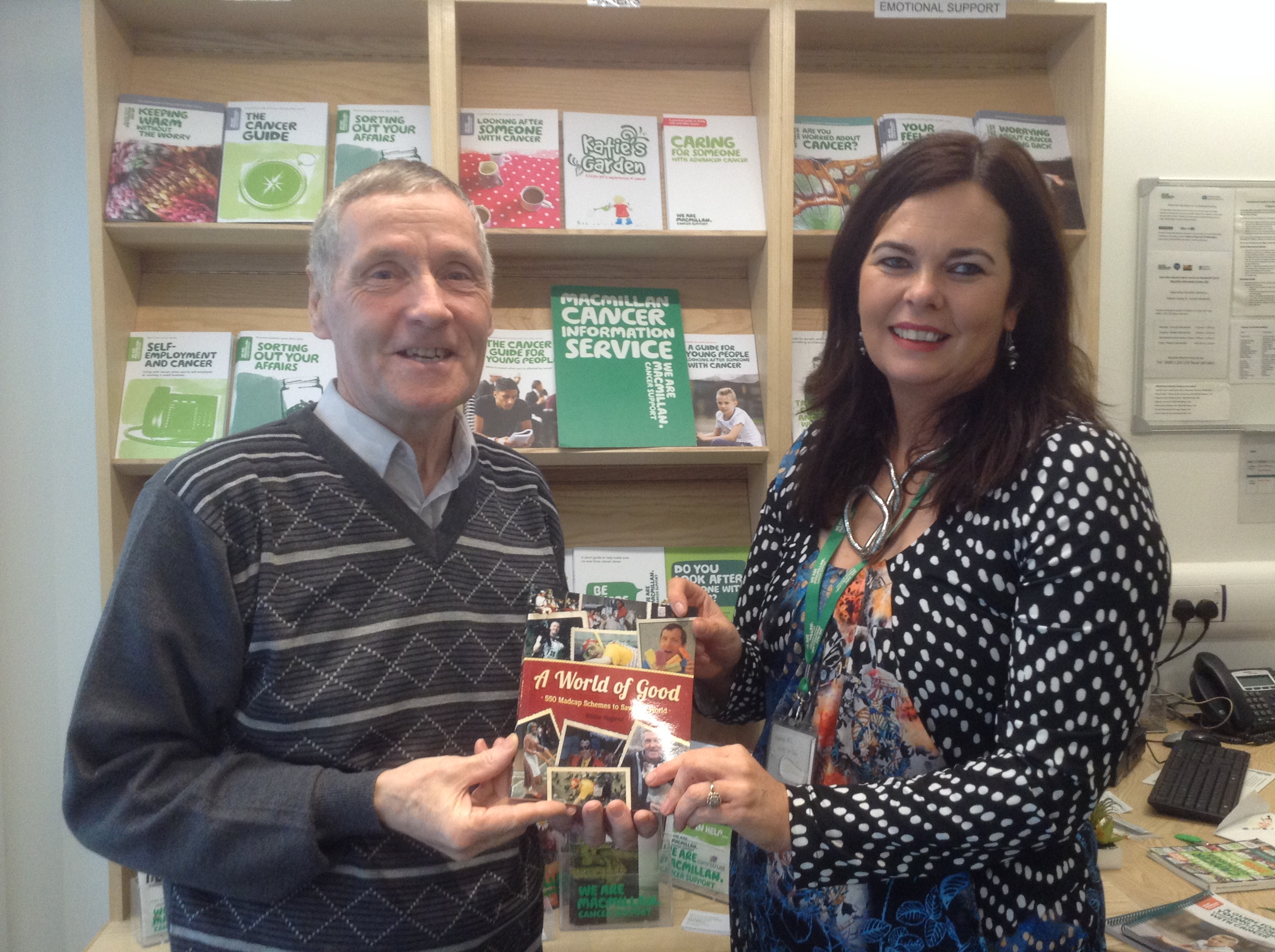 Willie Presents £300 to Sharon Clarke of Macmillan cancer support from the sale of the first 60 books.