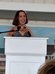 """Lynne Heinzmann Speaking about """"Frozen Voices"""" at the Women's Club Author Luncheon"""