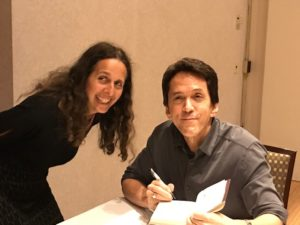 Mitch Albom signing Finding Chika for Lisa Tener