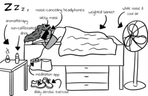 Insomnia illustration in The Ultimate College Student Health Handbook